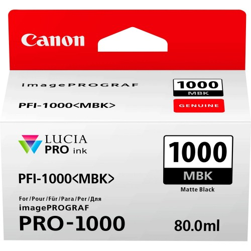 Canon PFI-1000MBK Matte Black Ink Tank 80ml - Canon PRO-1000 Photo Printer 0545C001