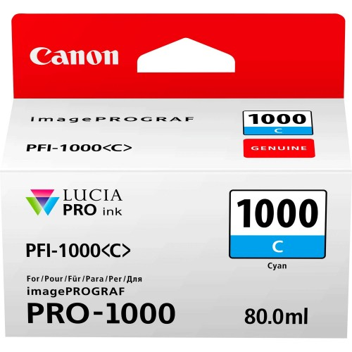 Canon PFI-1000C Cyan Ink Tank 80ml - Canon PRO-1000 Photo Printer 0547C001