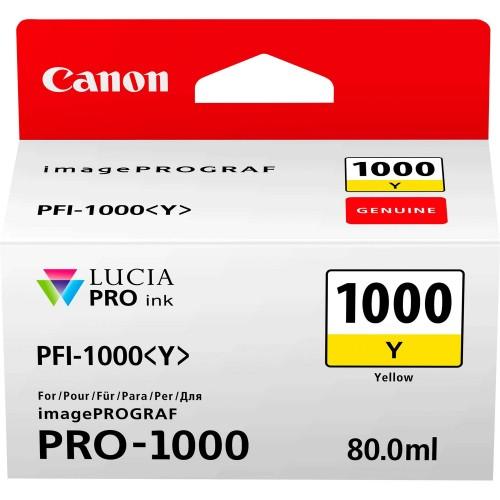 Canon PFI-1000Y Yellow Ink Tank 80ml - Canon PRO-1000 Photo Printer 0549C001