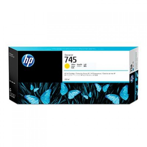 HP 745 F9K02A Yellow Ink Cartridge 300ml for HP Designjet Z2600 & Z5600