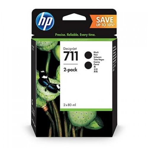 HP P2V31A No. 711 Black Ink Cartridge - 80ml x 2