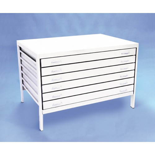 A0 6 Drawer Modern Metal Planchest