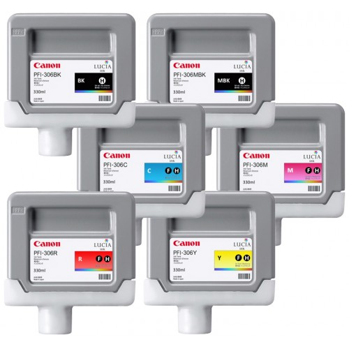 Canon PFI-306 Set of 6 Ink Tanks 330ml for Canon IPF8400SE