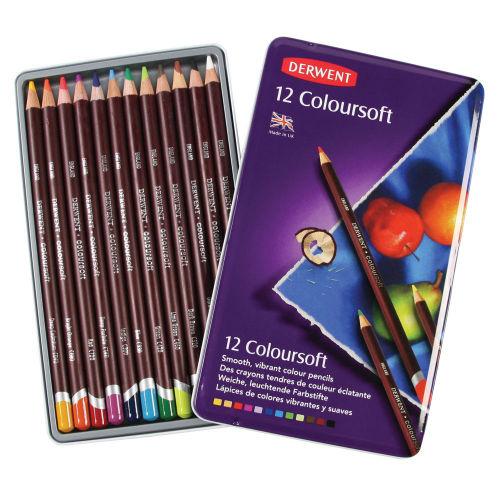 Derwent Coloursoft Pencils Tin of 12