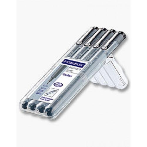 Pigment Liners Wallet of 4 pens 0.1,0.3,0.5,0.7mm Staedtler