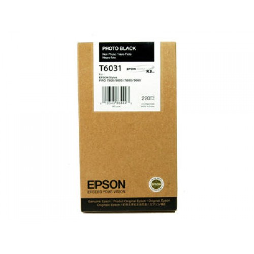 C13T603100 Epson Photo Black UltraChrome K3 Ink 220ml
