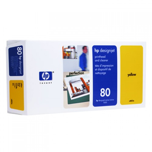 HP 80 C4823A No 80 Yellow Print Head + Cleaner