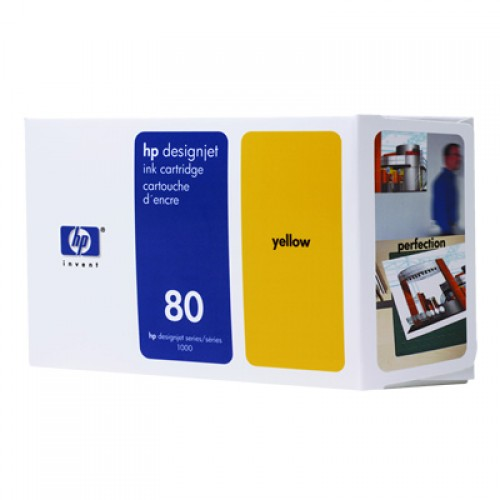 HP C4848A No 80 Yellow Ink Cartridge 350ml for HP Designjet 1050 & 1055