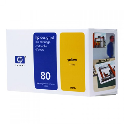 HP C4873A No 80 Yellow Ink Cartridge 175ml for HP Designjet 1050 & 1055