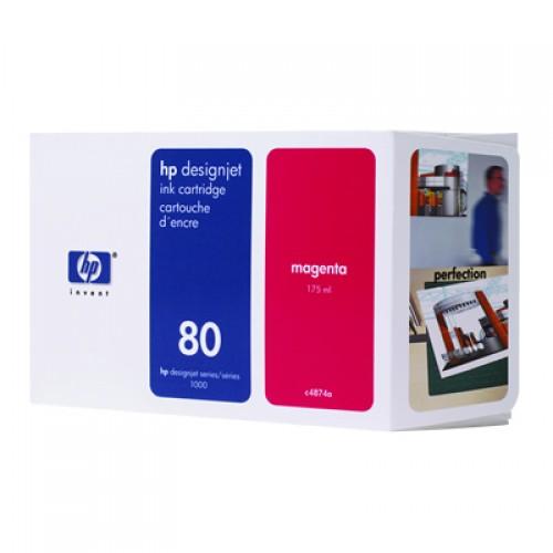 HP C4874A No 80 Magenta Ink Cartridge 175ml for HP Designjet 1050 & 1055
