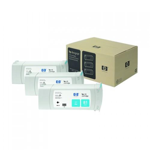 HP 81 C5067A Cyan Ink Triple Pack x 680ml
