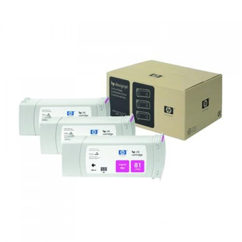 HP 81 C5068A Magenta Triple Pack x 680ml