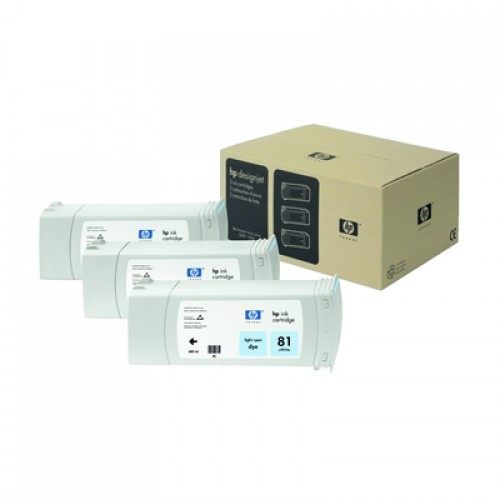 HP 81 C5070A Light Cyan Ink Triple Pack x 680ml