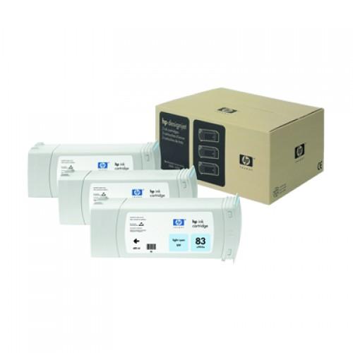 HP 83 C5076A Light Cyan Ink Cartridge Triple Pack x 680ml