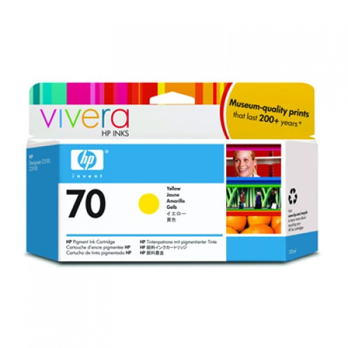 HP 70 C9454A Yellow Ink Cartridge 130ml for HP Designjet Z2100, Z3100, Z3200, Z5200 & Z5400