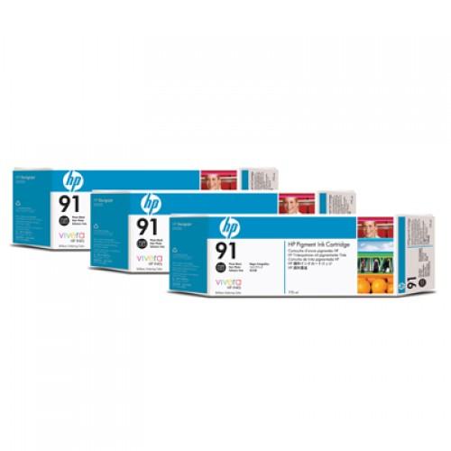 HP 91 C9481A Photo Black Ink Cartridge Triple Pack x 775ml for HP Designjet Z6100