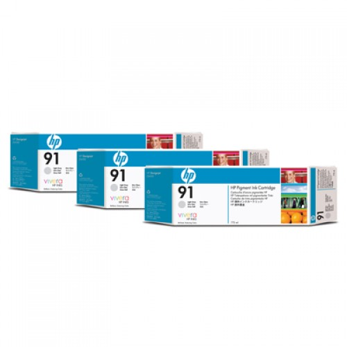 HP 91 C9482A Light Grey Ink Cartridge Triple Pack x 775ml for HP Designjet Z6100