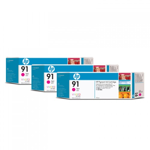 HP 91 C9484A Magenta Ink Cartridge Triple Pack x 775ml for HP Designjet Z6100