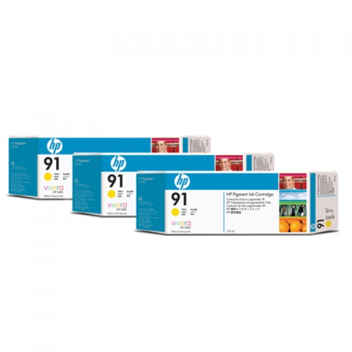 HP 91 C9485A Yellow Ink Cartridge Triple Pack x 775ml for HP Designjet Z6100