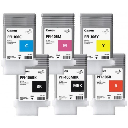 PFI-106 Set of 6 Ink Tanks 130ml for Canon IPF6400SE