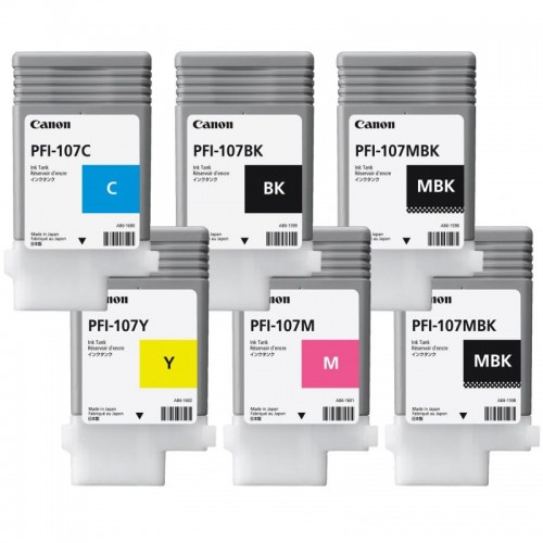 PFI-107 Set of 6 Ink Tanks 130ml for Canon IPF670 IPF770 Printer